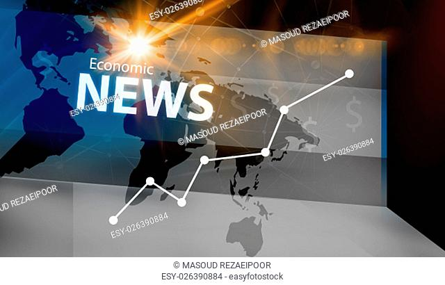 Graphical Economic News Background With Rising Graph and news text