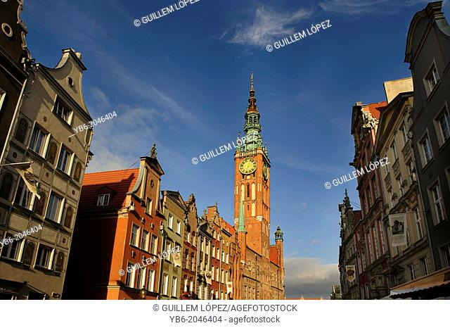 View of the town hall tower bell from the Long Market street, Gdansk, Poland