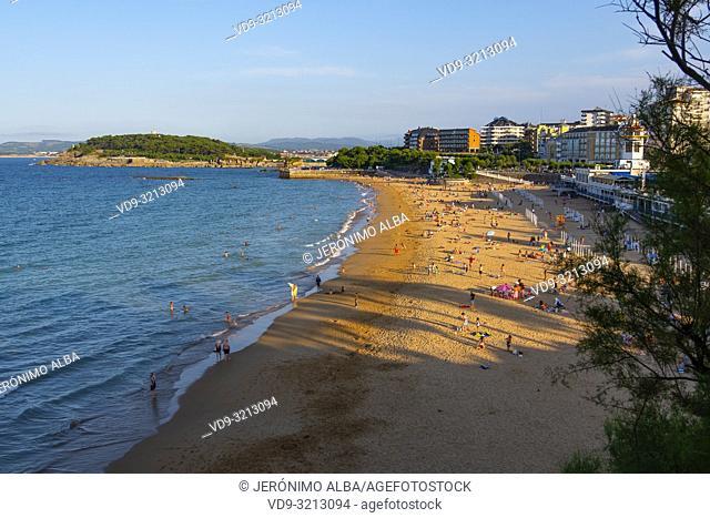 Sardinero beach in summer. Santander, Cantabrian Sea, Cantabria, Northern Spain, Europe
