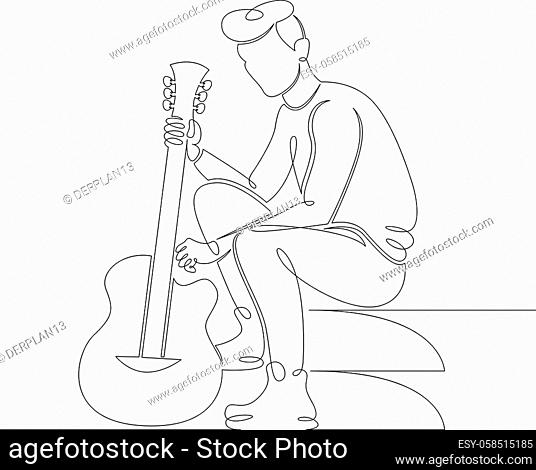 Young male musician sits on the steps with a guitar in his hands. One continuous drawing line, logo single hand drawn art doodle isolated minimal illustration