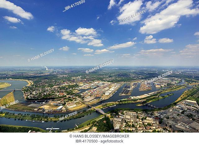 Duisport, Rhine-Ruhr port, the Port of Duisburg with the Ruhr and Rhine-Herne Canal, Duisburg, Ruhr, North Rhine-Westphalia, Germany