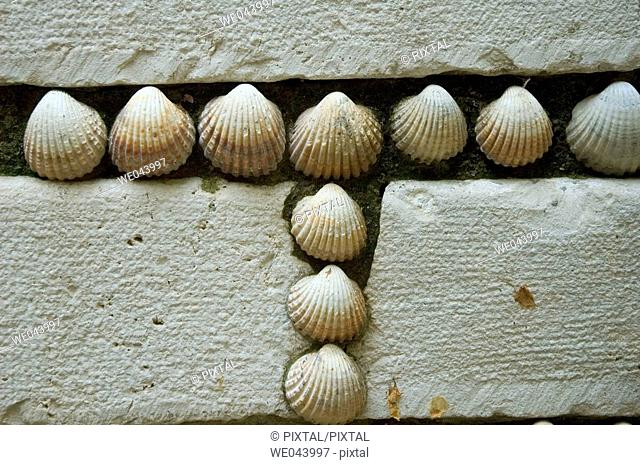facade decorated with seashells