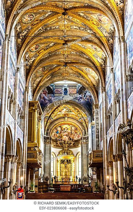interior of Parma Cathedral, Emilia-Romagna, Italy