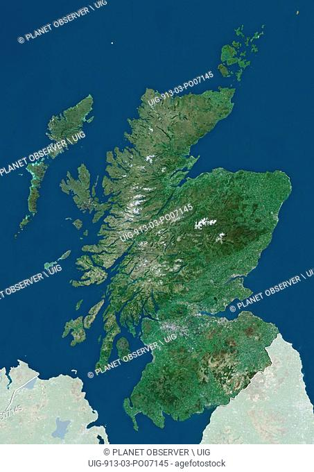 Satellite view of Scotland, UK (with country boundaries and mask). The image shows the mainland of Scotland, including the Hebrides and Orkney islands
