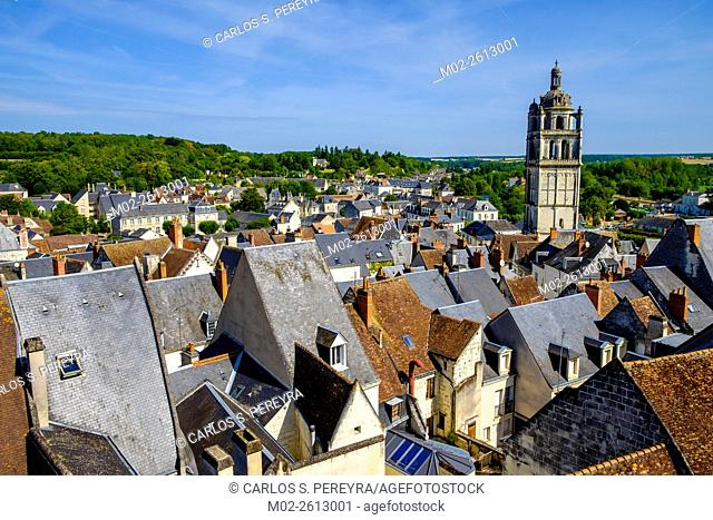 Panoramic of Loches, Loire Valley, France, Europe