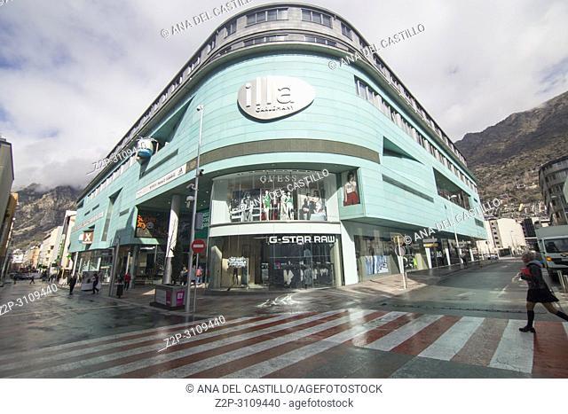 Shops in Escaldes Engordany Andorra la vella day on April 9, 2018. IIla Carlemany mall