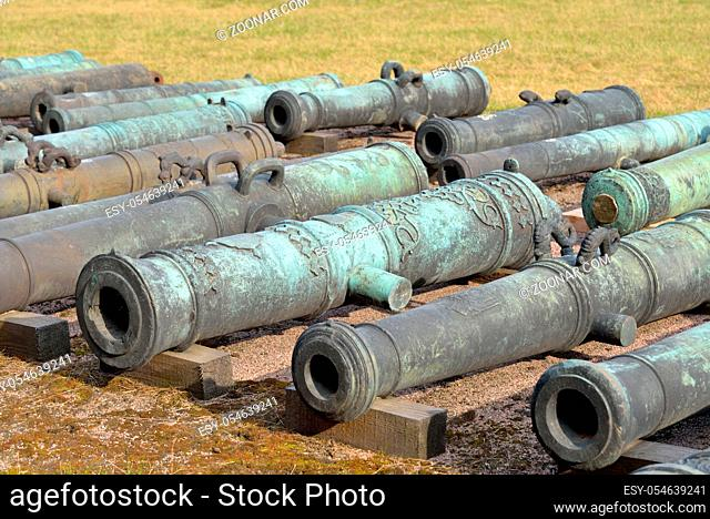 Old cannons in Military Artillery Museum in St.Petersburg, Russia