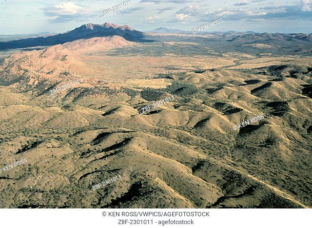 Aerial View of Macdonnell Mountains, Near Glen Helen Lodge; Northern Australia, Australia