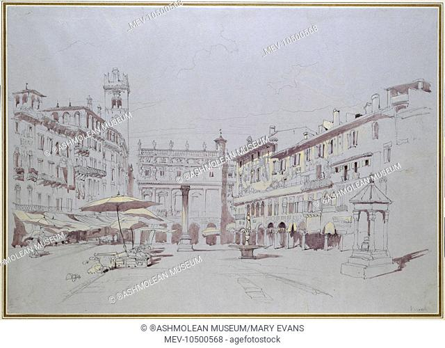Study for Detail of the Piazza delle Erbe, Verona. The drawing shows the Piazza delle Erbe in Verona, looking along the square to the north-west