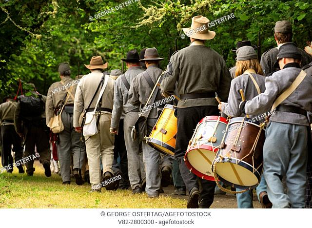 Confederate soldiers on the march, Civil War Reenactment, Willamette Mission State Park, Oregon