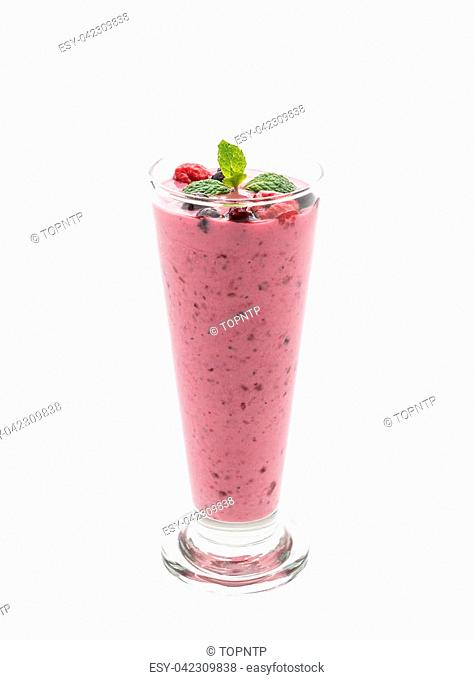 mixed berries with yogurt smoothies on white background