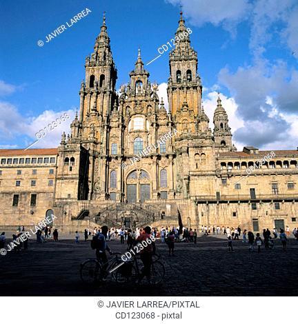 Plaza del Obradoiro and Cathedral. Santiago de Compostela. La Coruña province. Galicia. Spain