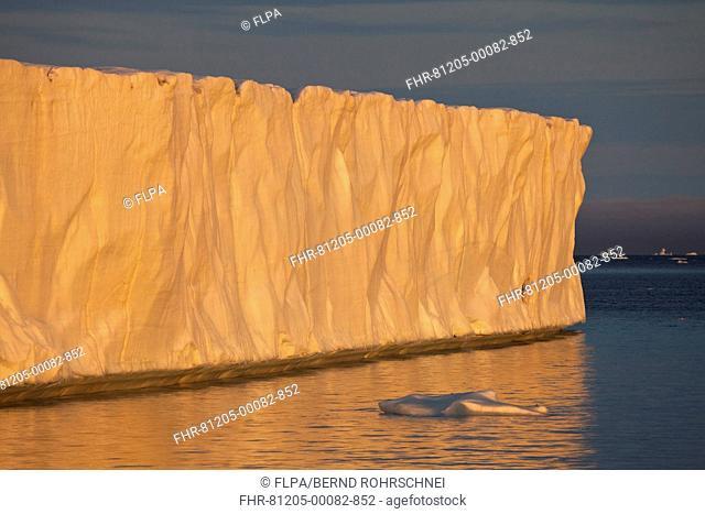 Coastal glacier terminus at sunset, Brasvellbreen Glacier, Nordaustlandet, Svalbard