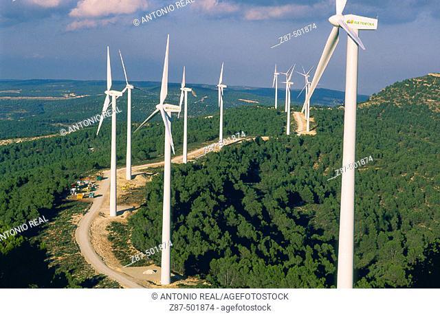 Windfarm. Almansa, Albacete province, Castilla-La Mancha, Spain