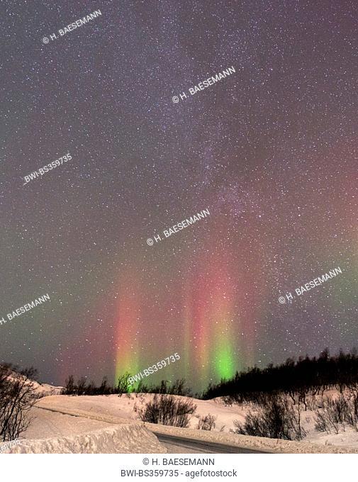 aurora rays with milky way, Norway, Troms, Finnvikdalen