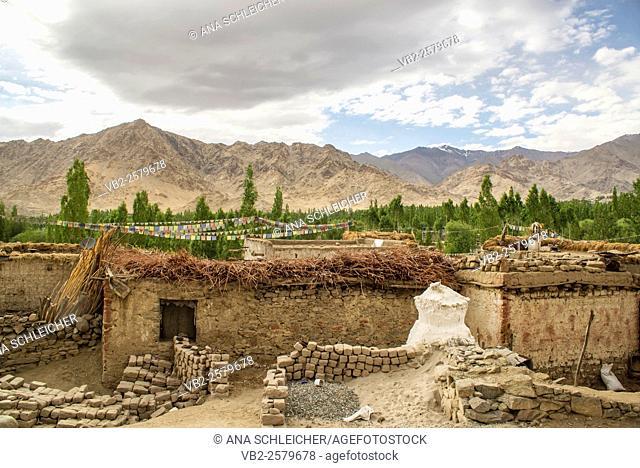Simple little mud-brick houses in Leh (Ladakh, India)