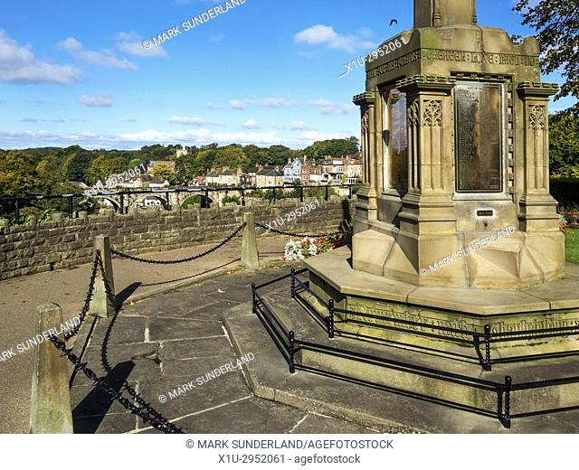 War Memorial at the Castle Top and Viaduct beyond at Knaresborough North Yorkshire England