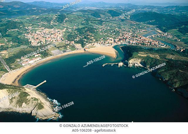 Plencia estuary mouth, Gorliz in background. Vizcaya. Euskadi. Spain