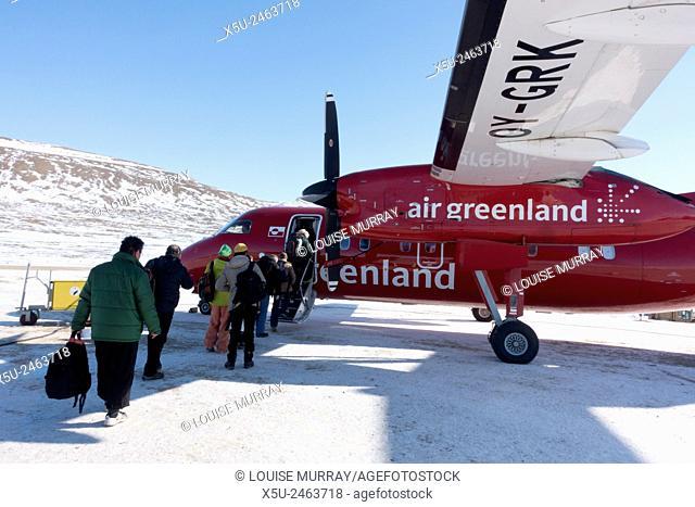Boarding an Air Greenland Dash 8 at Qaanaaq airport, Thule, Greenland