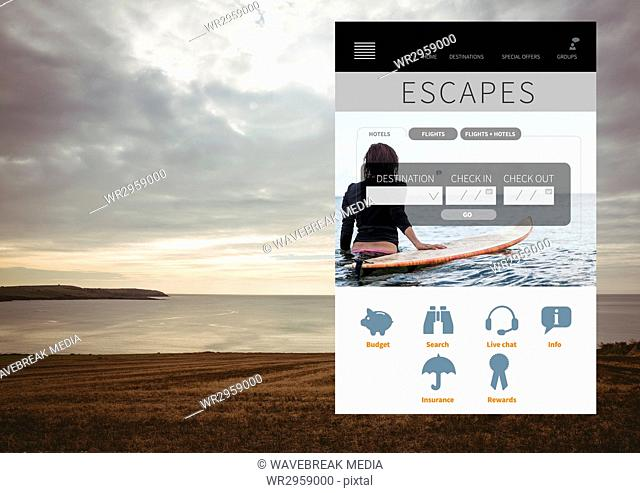 Escapes Holiday break App Interface with sea