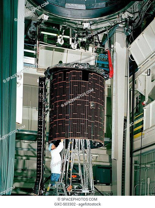 A technician at Boeing Satellite Systems, Inc. BSS completes testing of ASTRA 2D, a Boeing 376 HP satellite scheduled to launch on Dec. 19, 2000