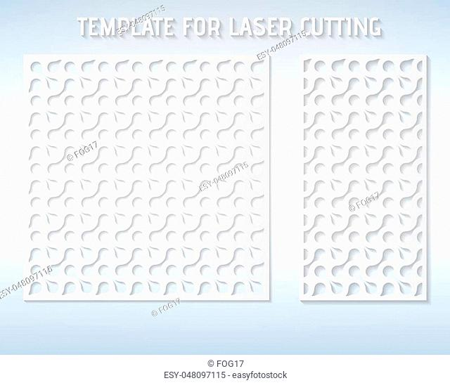 Cutout silhouette with a modern geometric pattern. Vector pattern laser cut panel
