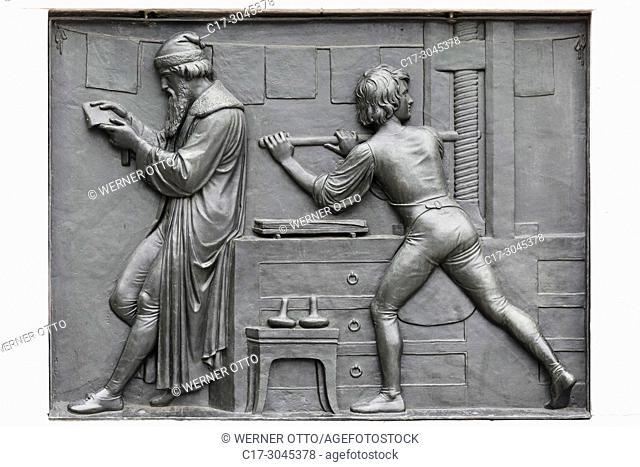 Mainz, D-Mainz, Rhine, Rhine-Main district, Rhineland, Rhineland-Palatinate, relief, pedestal plate at the Gutenberg memorial by Bertel Thorvaldsen at the...