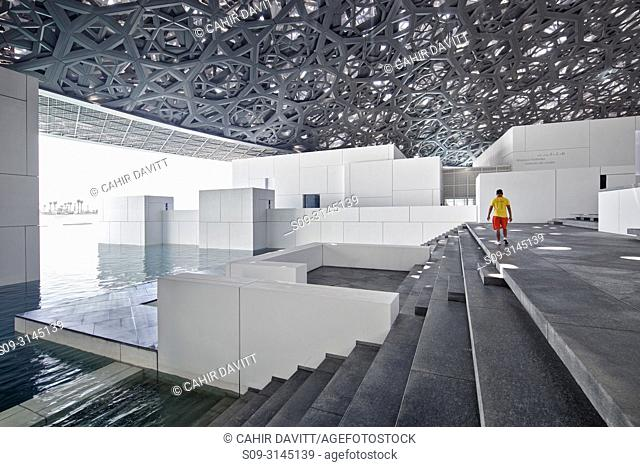 Interior of the Abu Dhabi Louvre Art Museum designed by the architect Jean Nouvel, Saadiyat Island, Abu Dhabi, United Arab Emirates