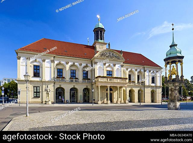 Town hall on the old market with Magdeburger Reiter, Magdeburg, Saxony-Anhalt, Germany