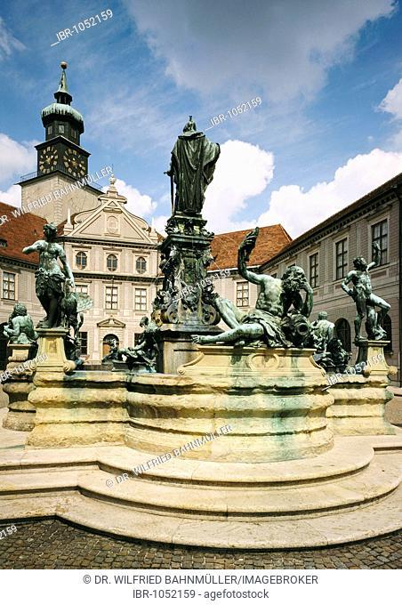 Brunnenhof, fountain courtyard, royal residence, Munich, Bavaria, Germany, Europe