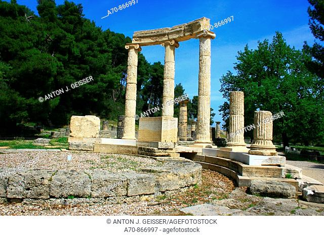 The Philippeion in Olympia. Peloponnese. Greece