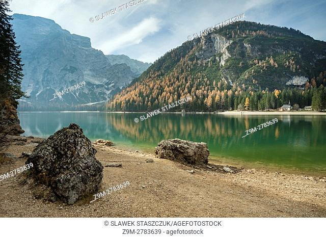 Autumn day at lake Braies (Pragser Wildsee), South Tyrol, Italy