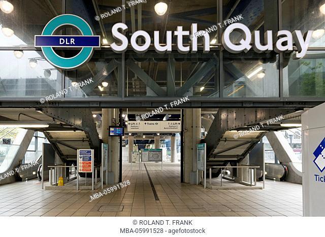England, London, Docklands, railway station South Quay