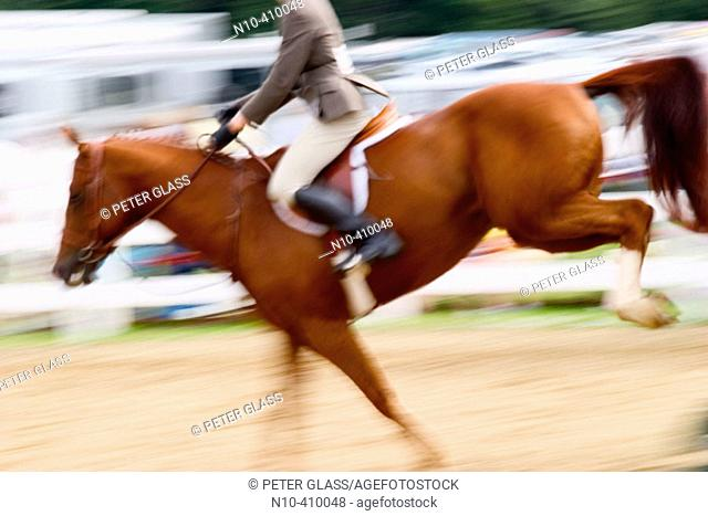 Teen girl riding her horse while competing in a horse show at a fair in Connecticut, USA