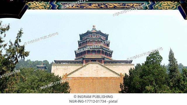 Low angle view of the Tower of Buddhist Incense, Longevity Hill, Summer Palace, Haidian District, Beijing, China