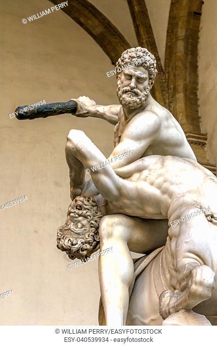 Hecules Nessus Centauer Statue Loggia dei Lanza Piazza della Signoria Florence Italy. Hercules statues created 1599 by Giambologna