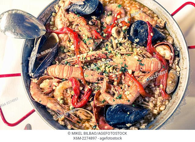 Paella. Zierbena, Biscay, Basque Country, Spain, Europe