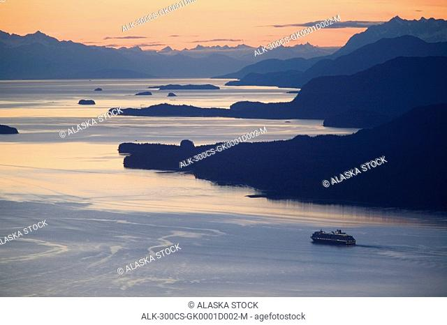 Sunset with Cruise ship heading north in Stephens Passage west of Juneau Southeast Alaska