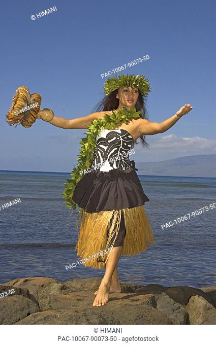 Hula dancer with haku lei in traditional outfit on rocky coast holding uli uli, ocean background
