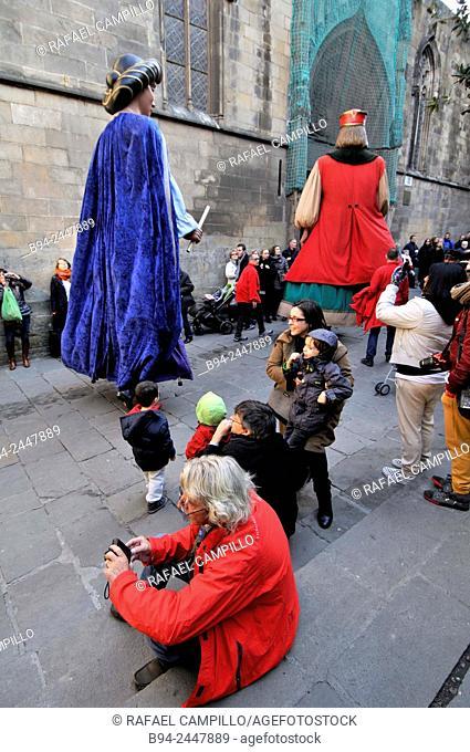 February 12, Celebration of Saint Eulalia martyr, 290-303 AD. Canonized 633 AD. Copatron of Barcelona. Carrer del Bisbe. Gothic Quarter