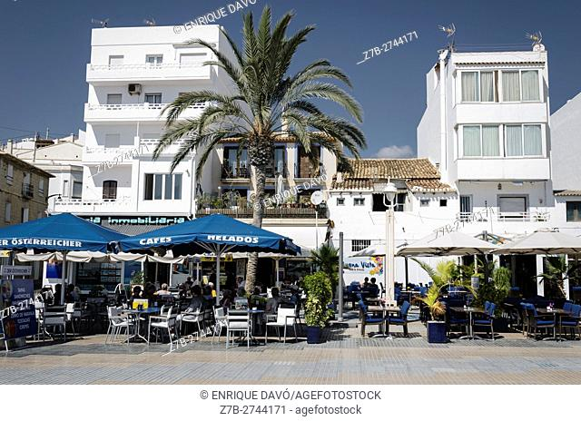 A bars view in Altea beach, Alicante north, Spain