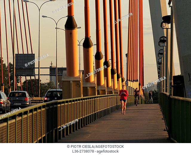 Jogging in Warsaw on one of the new bridges