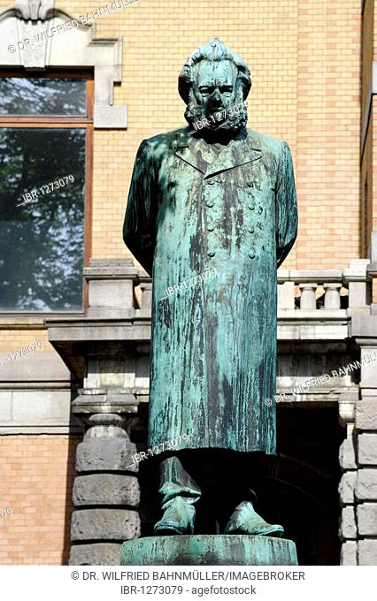 Henrik Johan Ibsen, 1828-1906, playwright and poet, sculpture at the National Theatre, Oslo, Norway, Scandinavia, Europe