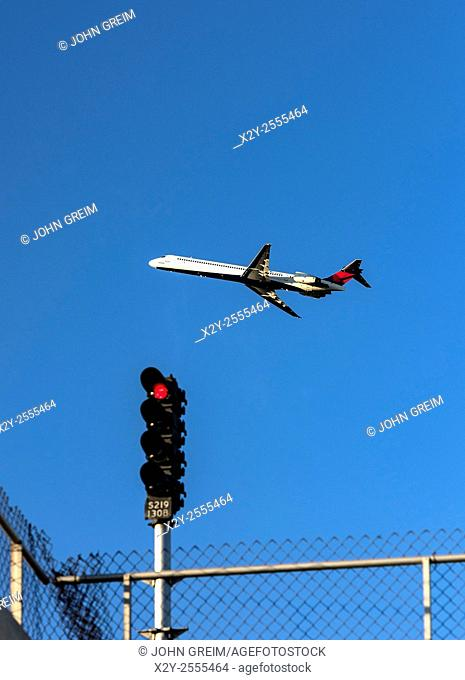 Delta Airline jet taking off from the Atlanta airport hub, Georgia, USA