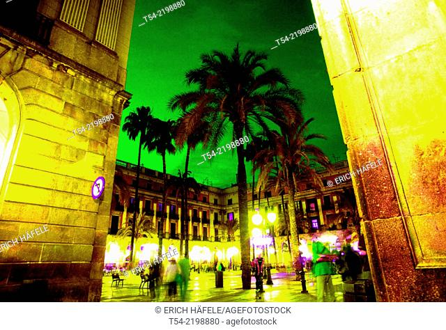 Plaça Reial in central Barcelona Spain Europe
