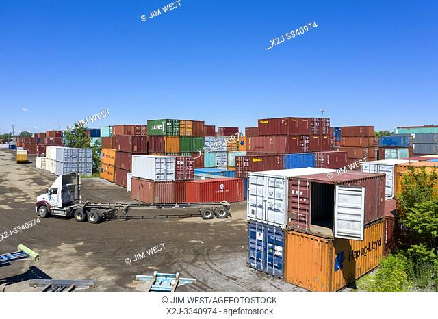 Detroit, Michigan - Shipping containers at ContainerPort Group's trucking terminal and container yard. The facility is on the site of the demolished General...