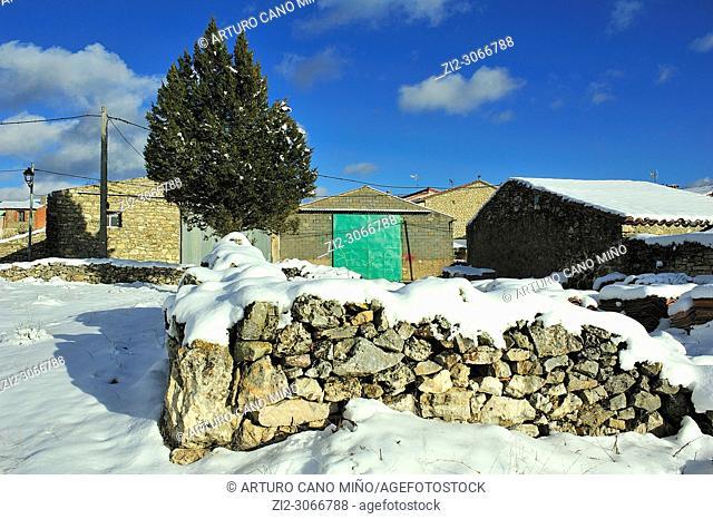 Snowed landscape. Alto Tajo Natural Park, Huertahernando town, Guadalajara province, Spain