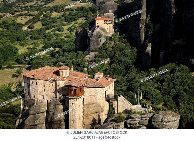 Greek orthodox monasteries of Rousanou (Saint Barbara) and Saint Nicholas of Anapafsas. Greece, Central Greece, Thessaly, Meteora monasteries complex