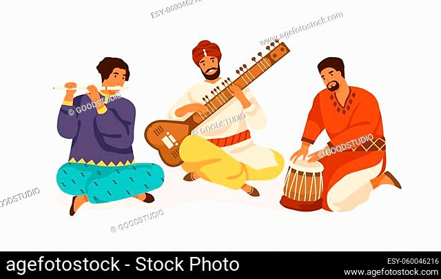 Indian street musicians playing traditional folk music on national instruments. Men in ethnic clothes performing on sitar, bansuri and drum