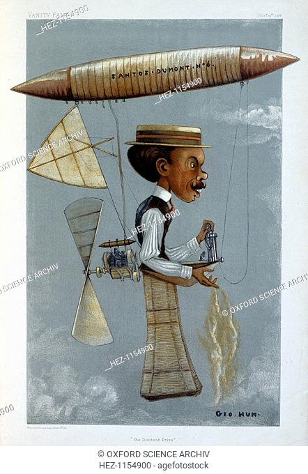 Alberto Santos-Dumont and his airship, 1901. Caricature of Alberto Santos-Dumont, the Brazilian pioneer in airship and aeroplane flights